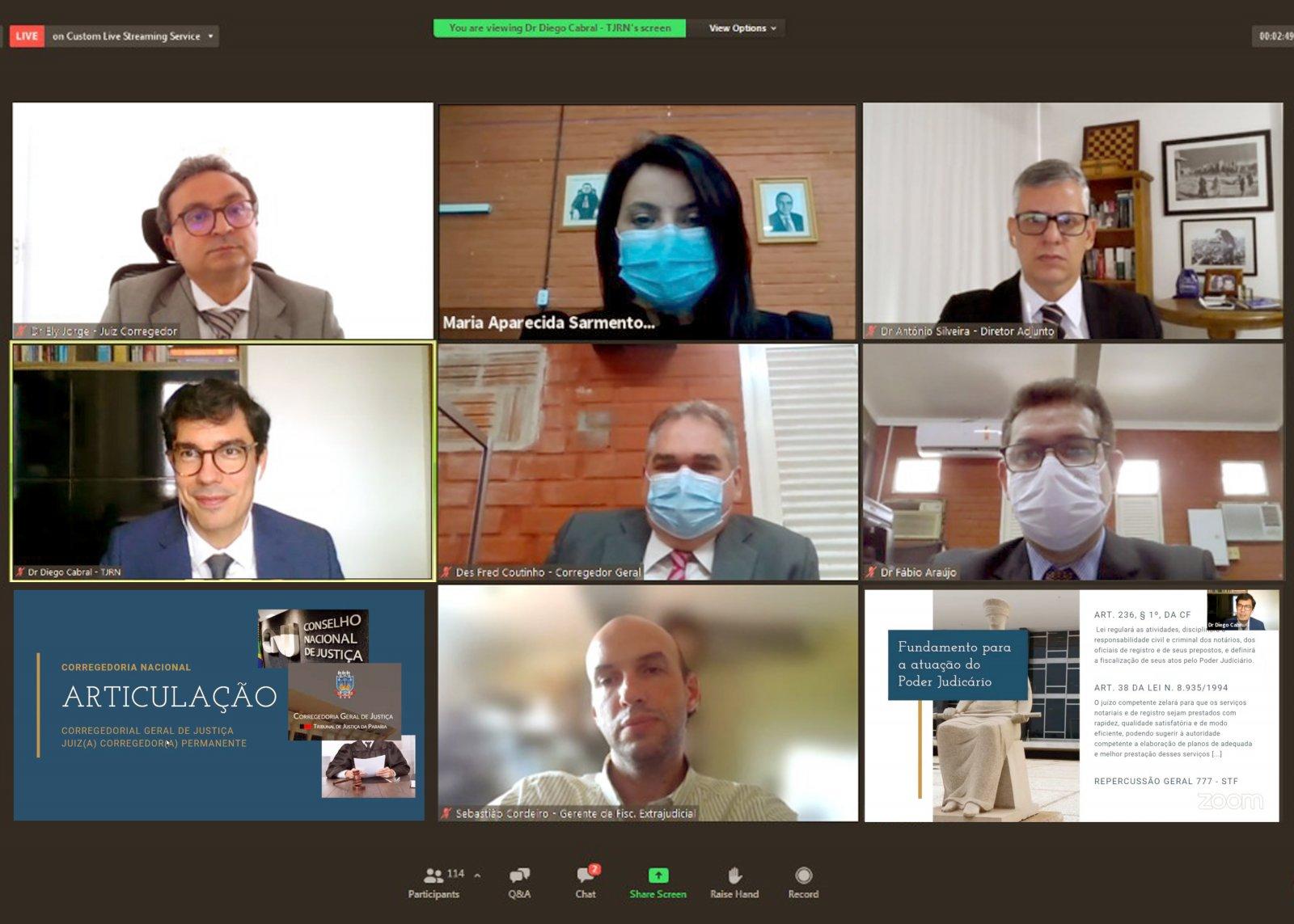 Captura de tela do webinário atuação dos magistrados nos serviços extrajudiciais