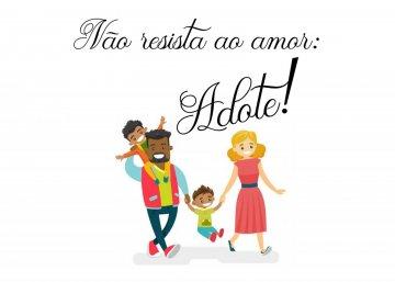 Arte sobre adoção com um homem, uma mulher e duas crianças