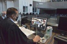 Foto do Presidente Saulo Benevides em sessão do Pleno